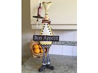 Large metal chef statue. Shabby chic