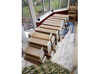 Set of 73 bookshelves on rails