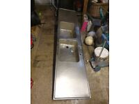 Stainless Steel Double Sink Double Drainer. Swedish Made Commercial Grade Excellent Condition
