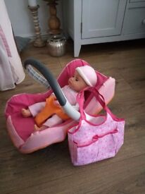 Doll car seat and changing bag