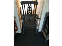 Shabby Chic High Back Solid Wood Arm Chair/ Kitchen/Dining/ Garden/ Very Heavy