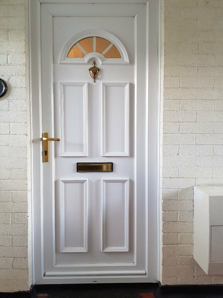 White Upvc Front Door And Frame Small Half Moon Window