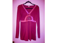 Women's fuchsia long sleeves tunic/top/blouse,size10/12, from Bonprix, BRAND NEW