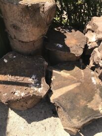 Pine slabs - ideal for garden stepping stone / stool