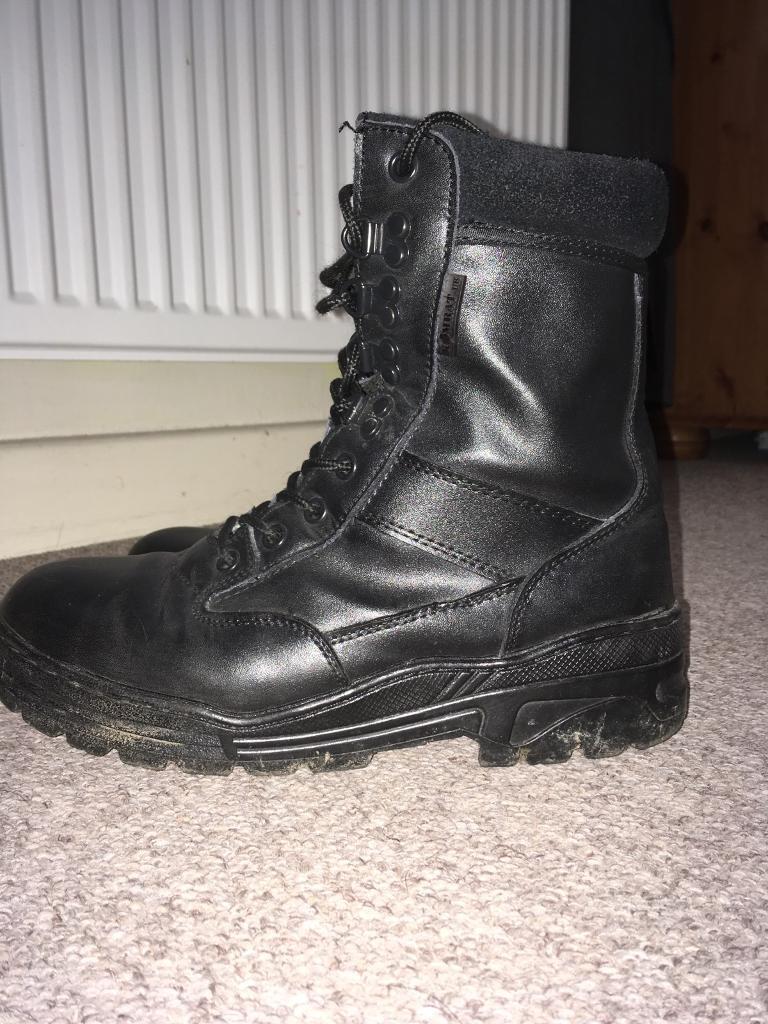 Black full leather boots Kombat UK