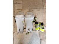 Kookaburra junior cricket batting pads and gloves for sale. used but in good condition