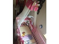 Cot with mattress and canopy