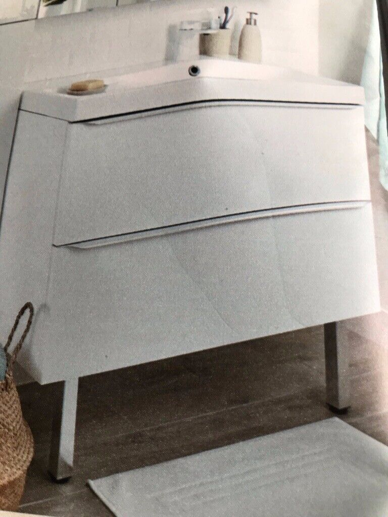 san francisco 9d584 4a4d6 Bathroom white wall hanging vanity unit (with front legs) 600x450. B&Q  Imandra. No basin, tap.   in Solihull, West Midlands   Gumtree