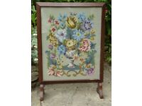Vintage Embroidered Fire screen for Fireplace - fireguard or hide things behind - H 73cm x W 50cm