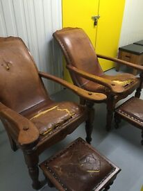 x2 Plantation chairs and x2 footstools