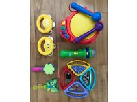 Bundle of musical instruments inc. Drum, Microphone, Tambourines, ELC shakers and clackers.