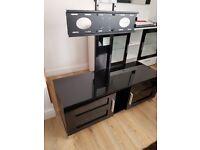 Black high gloss and glass tv stand
