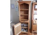 Tall Antique Pine Cabinet with drawer, shelving and lower cupboard