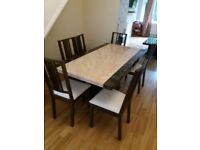 MARBLE TABLES PLUS 6 CHAIRS IMMACULATE CONDITION