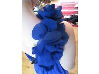 Prom/flower girl dress - One shoulder chiffon dress (size 11-12) - dark blue