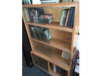 Adorable Light Oak Minty Style Vintage 4 Stack Bookcase with Glazed Sliding Doors Bookshelf Storage