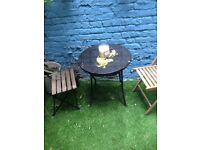 Outdoor robust painted steel table