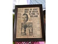 Old news paper from collection framed . 8 pages perfect condition.