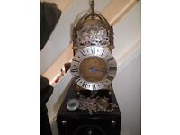 LARGE ANTIQUE BRASS STEEL ENGLISH LANTERN CLOCK SIGNED THOMAS MOORE OF IPSWICH WITH CHAINS & WEIGHT