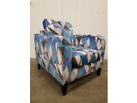 DFS LUSTRE PATTERN ACCENT BLUE FABRIC ARMCHAIR AS NEW CONDITION EX DISPLAY CHAIR DELIVERY AVAILABLE