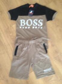 Boys boss T shirt and shorts