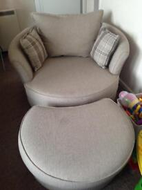 DFS Rupert Oyster Snuggle/Armchair And Footstool