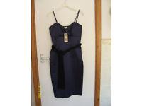 LADIES DARK BLUE SATIN DRESS WITH BLACK VELVET SASH TIE SIZE 10 UNWORN