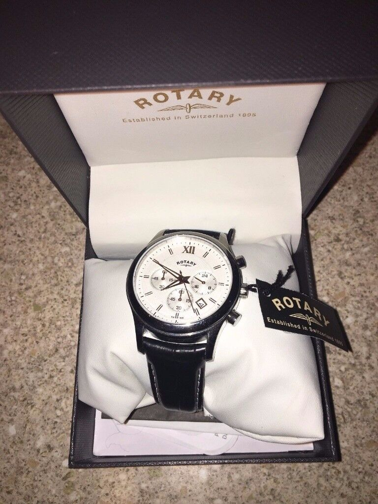 Rotary Men's Quartz Watch White Dial Chronograph Display and Black Leather Strap