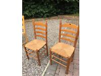 Pine and rattan dining chairs