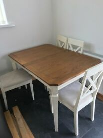 Farmhouse dining table & 6 chairs, white with oak wood top