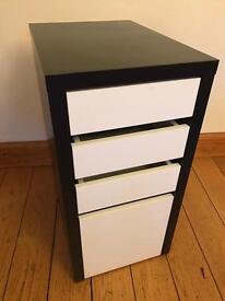 Ikea 4 Drawer B/W Bedroom Bedside/Desk