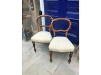 Pair of Victorian Ballon Backed chairs , good quality , seat covers do need re-upholstered .
