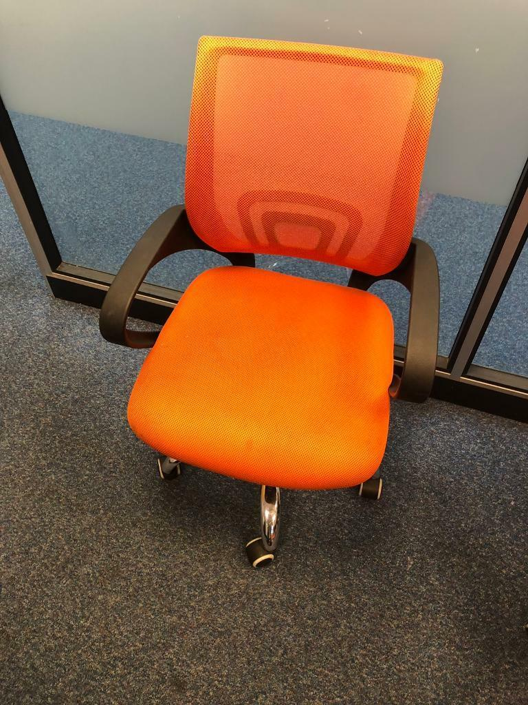 Mesh Office Chair In Orange Fabric