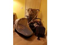 Hauck Malibu XL 3in1 - pram, pushchair and car seat - dots, used