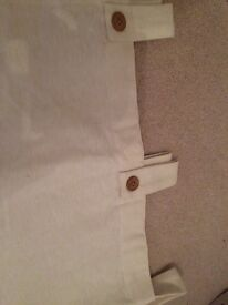 Long length cream tab top curtains