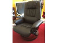 LEATHER (FAUX) SWIVEL RECLING ARMCHAIR IN GOOD CONDITION - COFFEE BROWN COLUR