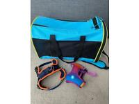 Puppy carrier and harnesses