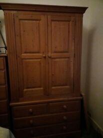 Pine wardrobe, chest of drawers