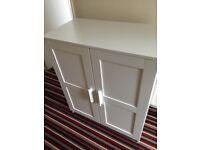 White cabinet - unit - storage - bookshelf