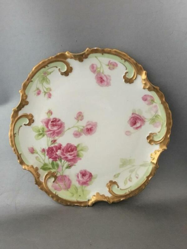 ANTIQUE VTG LIMOGES OLD ABBEY PINK DROP ROSES & GOLD GILT PORCELAIN PLATE