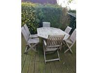 Teak large table and 6 chairs