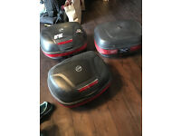 GIVI Monokey Panniers and Top Box; full set with keys and spares