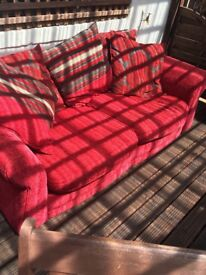 Red 3 seater settee and buffet
