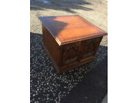Coffee table / Storage cabinet , with carved doors and original handles . Free Local delivery.
