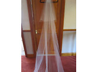 Wedding veil 12ft White with comb & scattering of diamante -cut edging BRAND NEW