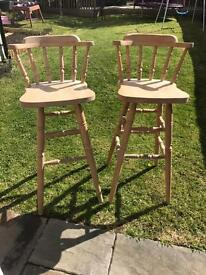 Solid Pine Tall High Backed Breakfast Bar Chairs/Stools