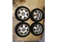"GENUINE VW BORA ALLOYS 16"" 5x100 PCD WITH TYRES GOOD CONDITION"