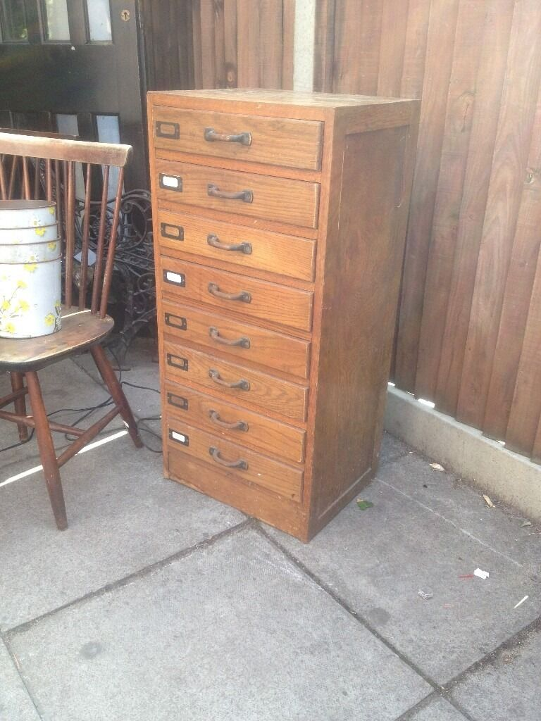 Vintage Wooden Office Drawers Filing Cabinet Mid Century