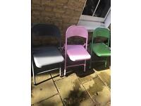 Habitat Outdoor Metal Coloured Chairs foldable x3