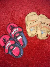 Leather sandals next & spiderman slipers size 4